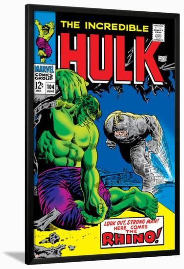 Marvel Comics Retro: The Incredible Hulk Comic Book Cover No.104, with the Rhino--Lamina Framed Poster