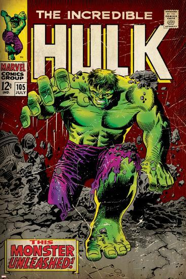 Marvel Comics Retro: The Incredible Hulk Comic Book Cover No.105 (aged)--Art Print