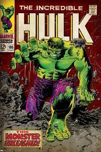 Marvel Comics Retro: The Incredible Hulk Comic Book Cover No.105 (aged)