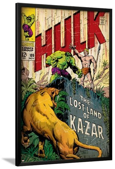 Marvel Comics Retro: The Incredible Hulk Comic Book Cover No.109, the Lost Land of Ka-Zar (aged)--Lamina Framed Poster