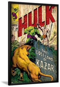Marvel Comics Retro: The Incredible Hulk Comic Book Cover No.109, the Lost Land of Ka-Zar (aged)