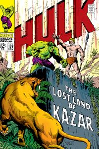 Marvel Comics Retro: The Incredible Hulk Comic Book Cover No.109, the Lost Land of Ka-Zar
