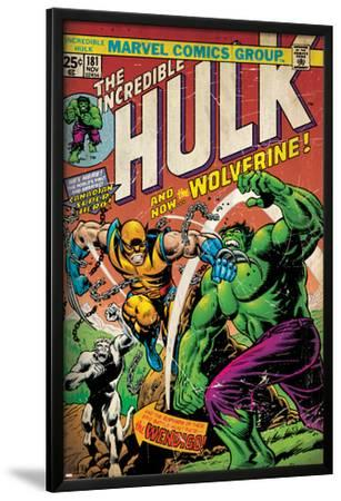 Marvel Comics Retro: The Incredible Hulk Comic Book Cover No.181, with Wolverine (aged)--Lamina Framed Poster