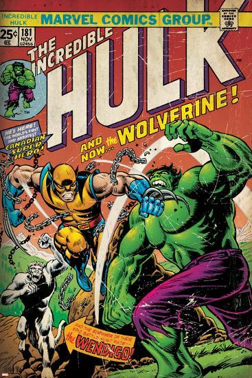 Marvel Comics Retro: The Incredible Hulk Comic Book Cover No.181, with Wolverine (aged)--Poster
