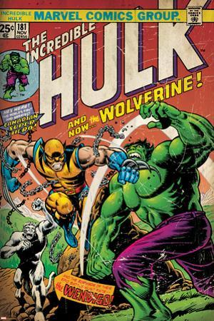 Marvel Comics Retro: The Incredible Hulk Comic Book Cover No.181, with Wolverine (aged)