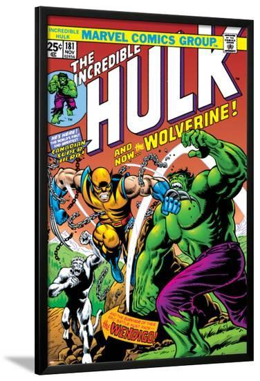 Marvel Comics Retro: The Incredible Hulk Comic Book Cover No.181, with Wolverine and the Wendigo--Lamina Framed Poster