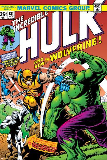 Marvel Comics Retro: The Incredible Hulk Comic Book Cover No.181, with Wolverine and the Wendigo--Art Print