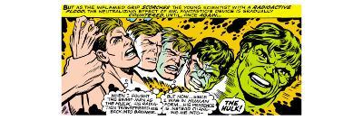 Marvel Comics Retro: The Incredible Hulk Comic Panel, Bruce Banner Transforming--Art Print