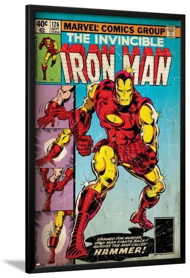 Marvel Comics Retro: The Invincible Iron Man Comic Book Cover No.126, Suiting Up for Battle (aged)--Lamina Framed Poster