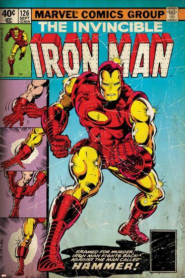 Marvel Comics Retro: The Invincible Iron Man Comic Book Cover No.126, Suiting Up for Battle (aged)--Art Print