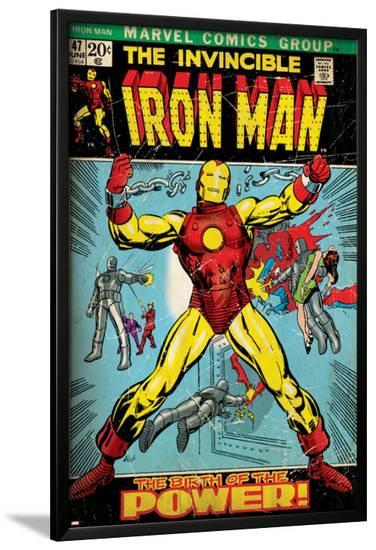 Marvel Comics Retro: The Invincible Iron Man Comic Book Cover No.47, Breaking Through Chains (aged)--Lamina Framed Poster