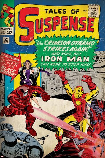 Marvel Comics Retro: The Invincible Iron Man Comic Book Cover No.52, Facing the Crimson Dynamo--Art Print