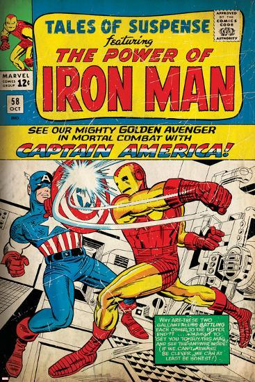Marvel Comics Retro: The Invincible Iron Man Comic Book Cover No.58, Facing Captain America (aged)--Art Print