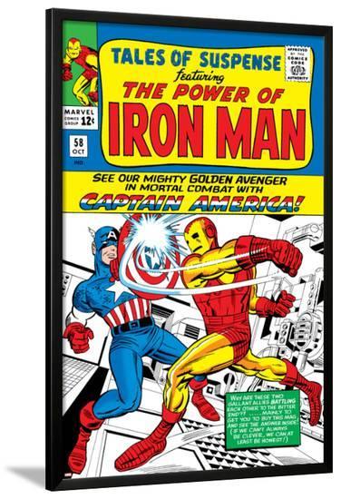 Marvel Comics Retro: The Invincible Iron Man Comic Book Cover No.58, Facing Captain America--Lamina Framed Poster
