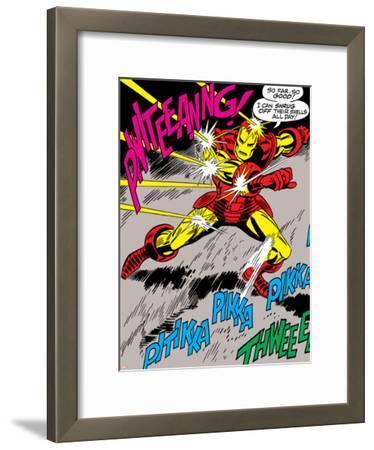 Marvel Comics Retro: The Invincible Iron Man Comic Panel, Fighting and Deflecting