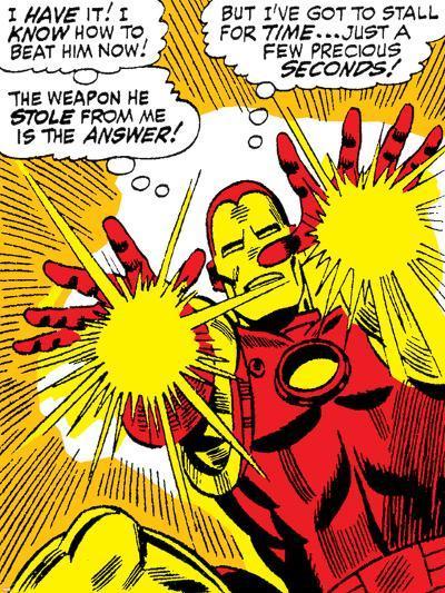 Marvel Comics Retro: The Invincible Iron Man Comic Panel, Fighting and Shooting--Art Print