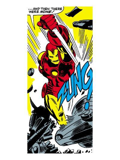 Marvel Comics Retro: The Invincible Iron Man Comic Panel, Fighting, Charging and Smashing - Zung!--Art Print
