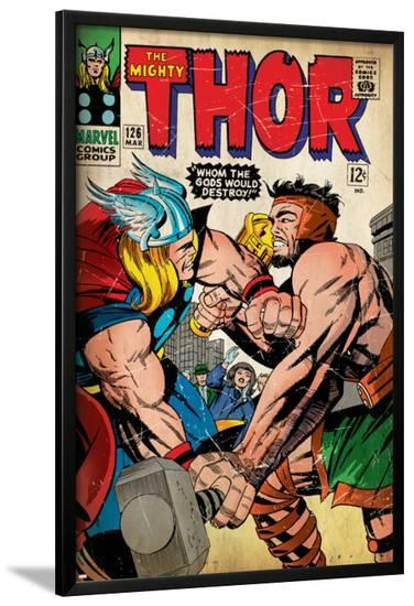 Marvel Comics Retro: The Mighty Thor Comic Book Cover No.126, Hercules (aged)--Lamina Framed Poster