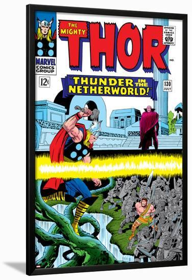 Marvel Comics Retro: The Mighty Thor Comic Book Cover No.130, Thunder in the Netherworld, Hercules--Lamina Framed Poster