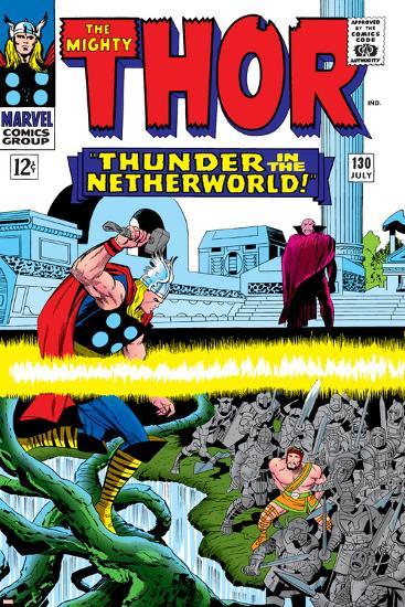 Marvel Comics Retro: The Mighty Thor Comic Book Cover No.130, Thunder in the Netherworld, Hercules--Art Print