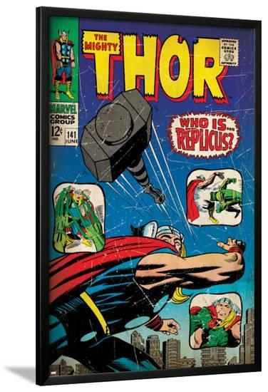 Marvel Comics Retro: The Mighty Thor Comic Book Cover No.141, Who is Replicus? (aged)--Lamina Framed Poster