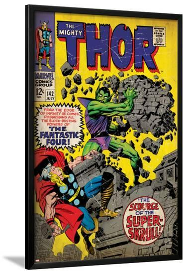 Marvel Comics Retro: The Mighty Thor Comic Book Cover No.142, Scourge of the Super Skrull! (aged)--Lamina Framed Poster