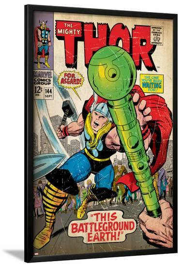Marvel Comics Retro: The Mighty Thor Comic Book Cover No.144, Charging, Swinging Hammer (aged)--Lamina Framed Poster