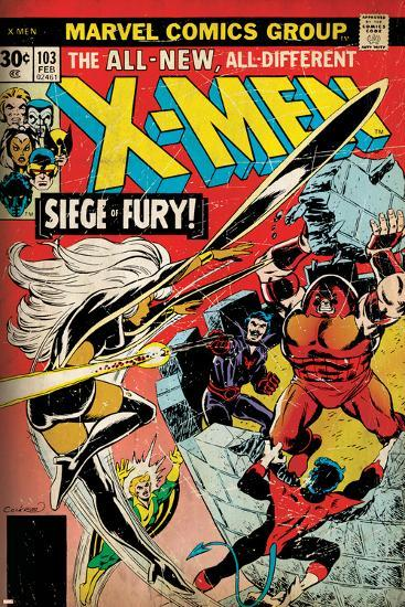 Marvel Comics Retro: The X-Men Comic Book Cover No.103 with Storm, Nightcrawler, Banshee(aged)--Art Print