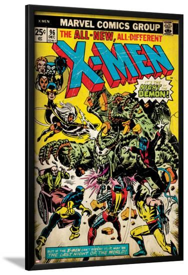 Marvel Comics Retro: The X-Men Comic Book Cover No.96, Fighting the Night Demon (aged)--Lamina Framed Poster