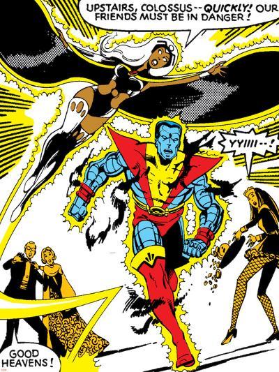 Marvel Comics Retro: X-Men Comic Panel, Colossus, Storm, Charging and Flying--Art Print
