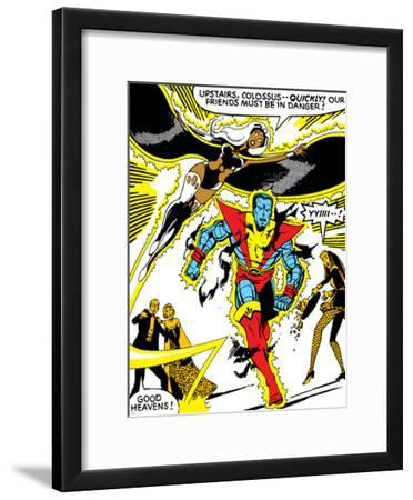 Marvel Comics Retro: X-Men Comic Panel, Colossus, Storm, Charging and Flying