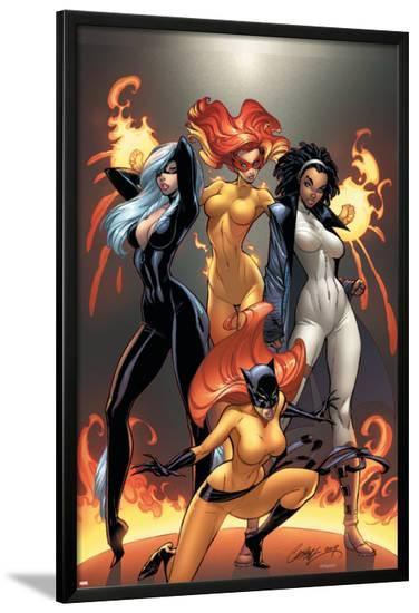 Marvel Divas No.1 Cover: Hellcat, Black Cat, Captain Marvel and Firestar-J. Scott Campbell-Lamina Framed Poster