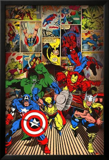 Marvel-Here Come the Heroes--Framed Poster