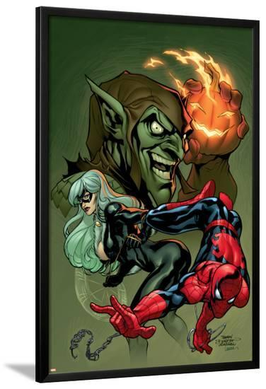Marvel Knights Spider-Man V3, No.10 Cover: Black Cat, Spider-Man and Green Goblin Crouching-Terry Dodson-Lamina Framed Poster