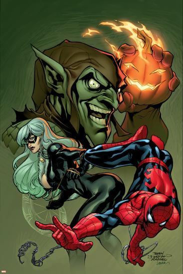 Marvel Knights Spider-Man V3, No.10 Cover: Black Cat, Spider-Man and Green Goblin Crouching-Terry Dodson-Art Print