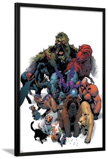 Marvel Pets Handbook Cover: Lockjaw, Lockheed, Devil Dinosaur, Zabu and Old Lace-Karl Kerschl-Lamina Framed Poster