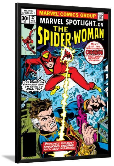 Marvel Spotlight: Spider-Woman No.32 Cover: Spider Woman and Nick Fury Fighting-Sal Buscema-Lamina Framed Poster