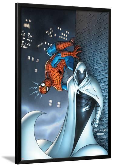 Marvel Team Up No.7 Cover: Moon Knight and Spider-Man-Scott Kolins-Lamina Framed Poster