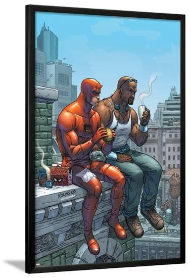 Marvel Team-Up No.9 Cover: Daredevil, Cage and Luke-Scott Kolins-Lamina Framed Poster