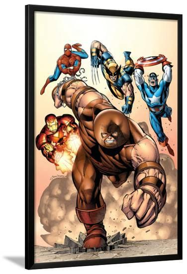Marvel Two-In-One No.7 Cover: Juggernaut, Wolverine, Captain America, Spider-Man and Iron Man-Sean Chen-Lamina Framed Poster