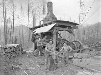 Donkey Engine at West Fork Logging Company, 1920