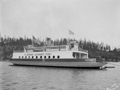 """Gig Harbor Ferry """"Defiance"""" (April 1, 1927) by Marvin Boland"""