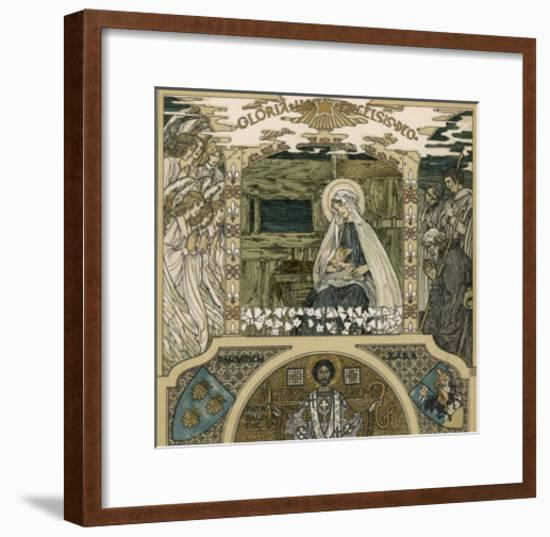 Mary and Jesus Watched by Angels on One Side Shepherds on the Other-Heinrich Lefler-Framed Giclee Print