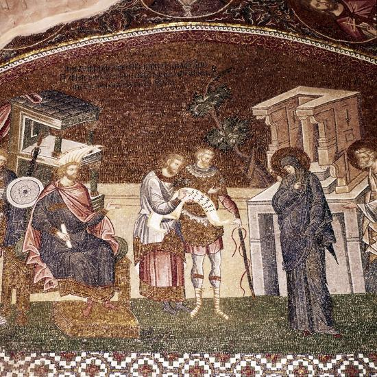Mary and Joseph before Cyrenius, Byzantine Mosaic, Chora Church, Istanbul, c1310-1320-Unknown-Giclee Print