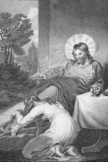 Mary Anointing the Saviour's Feet, from 'The History and Life of Our Blessed Lord and Saviour?-William Hopwood-Giclee Print