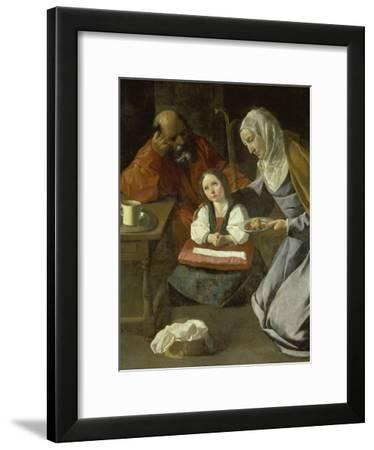 Mary as Child with St. Joachim and St. Anne-Francisco Zurbaran y Salazar-Framed Giclee Print