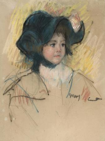 Head of Simone in a Green Bonnet with Wavy Brim by Mary Cassatt