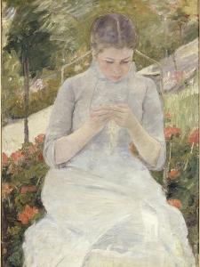 Jeune fille au jardin, dit aussi Femme cousant dans un jardin by Mary Cassatt