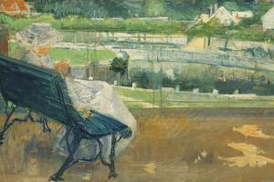 Lydia Seated on a Porch, Crocheting, C.1881 by Mary Cassatt