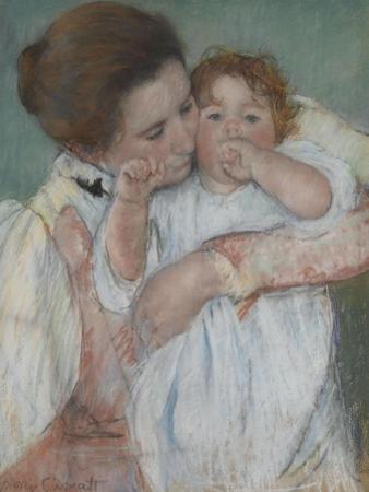Mother and Child on a Green Background or Maternity by Mary Cassatt